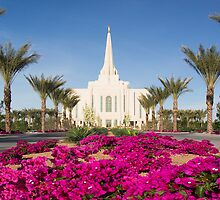 Gilbert Arizona Temple - Red Flowers - 30x20 by Ken Fortie