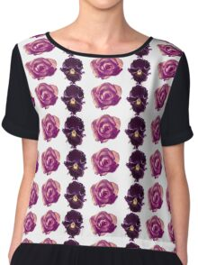 Purple and yellow pansies and pink roses white background Chiffon Top