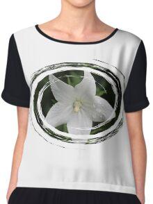 White Flower in a Green Swirl Chiffon Top