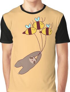 Sloth and Bumble Bees Graphic T-Shirt