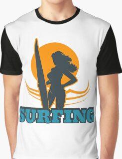 Surfing Colorful Emblem Graphic T-Shirt