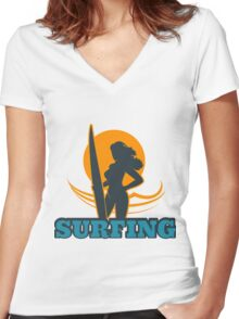 Surfing Colorful Emblem Women's Fitted V-Neck T-Shirt