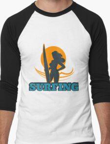 Surfing Colorful Emblem Men's Baseball ¾ T-Shirt
