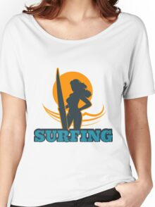 Surfing Colorful Emblem Women's Relaxed Fit T-Shirt