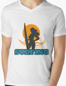 Surfing Colorful Emblem Mens V-Neck T-Shirt