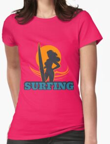 Surfing Colorful Emblem Womens Fitted T-Shirt