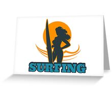 Surfing Colorful Emblem Greeting Card