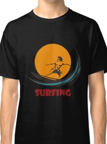 Surfing man emblem Classic T-Shirt