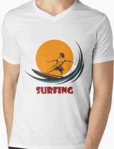 Surfing man emblem Mens V-Neck T-Shirt