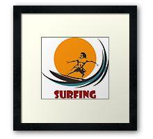 Surfing man emblem Framed Print
