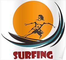 Surfing man emblem Poster
