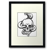Snake and Skull Engraving Illustration Framed Print