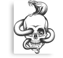 Snake and Skull Engraving Illustration Canvas Print