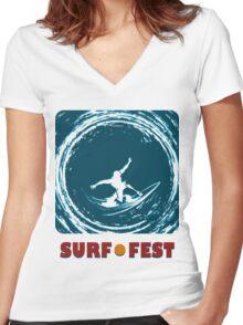 Surf Fest Emblem Women's Fitted V-Neck T-Shirt