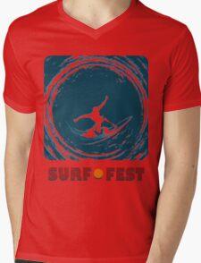 Surf Fest Emblem Mens V-Neck T-Shirt