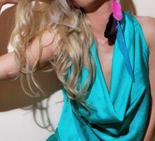 Sexy blond girl in fashion shoot Sticker