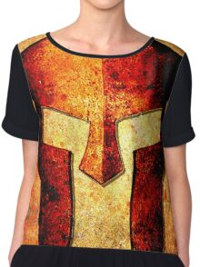 Spartan Helmet On Rust Background With A Color Burn Effect Chiffon Top