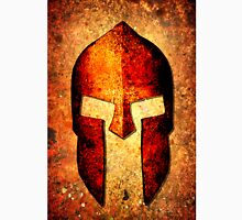 Spartan Helmet On Rust Background With A Color Burn Effect Unisex T-Shirt