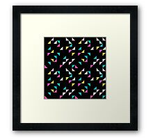 Retro triangle. Pink, yellow, blue Framed Print