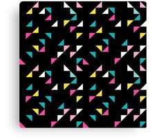 Retro triangle. Pink, yellow, blue Canvas Print