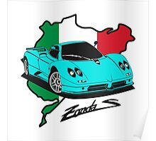 Pagani Zonda C12 S (light blue) Poster