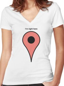 I'm right here Women's Fitted V-Neck T-Shirt
