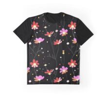 Pink flowers on black background Graphic T-Shirt