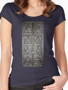 8 Buddhas Wall Carving Women's Fitted Scoop T-Shirt