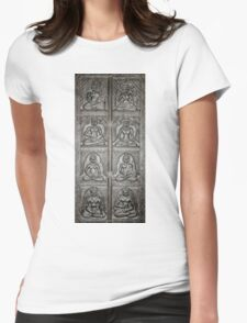 8 Buddhas Wall Carving Womens Fitted T-Shirt