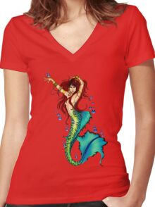Mermaid Pin-up Women's Fitted V-Neck T-Shirt