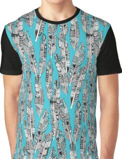 geo feathers turquoise blue Graphic T-Shirt