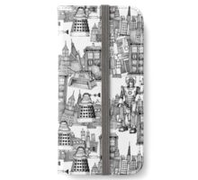 walking doodle toile de jouy black iPhone Wallet/Case/Skin