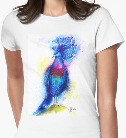 """""""Blue Crowned Pigeon"""" Womens Fitted T-Shirt"""