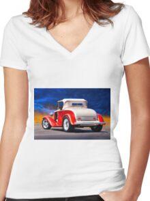1932 Chevrolet Roadster 'Journey's End' Women's Fitted V-Neck T-Shirt
