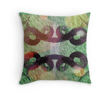 surreal intertwined metal serpent Throw Pillow