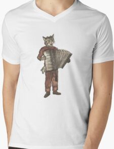 Accordion Cat with Goggles and Mask Mens V-Neck T-Shirt