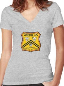 Cheddar AFC Badge Women's Fitted V-Neck T-Shirt
