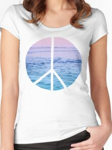 Waves and Peace Women's Fitted Scoop T-Shirt