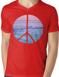 Waves and Peace Mens V-Neck T-Shirt