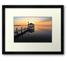 Gazebo on the dock at sunset, Pamilco Sound NC Framed Print
