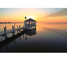 Gazebo on the dock at sunset, Pamilco Sound NC Photographic Print