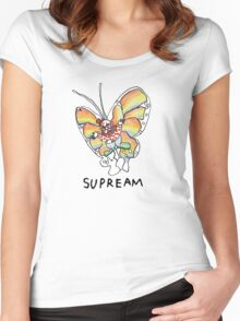 Supreme 'SUPREAM' Butterfly - White/Red/Blue/Grey/Beige Women's Fitted Scoop T-Shirt