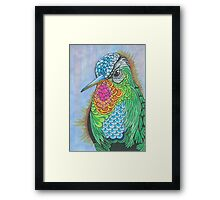 Rainbow Hummingbird Pen and Ink Illustration Framed Print