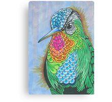 Rainbow Hummingbird Pen and Ink Illustration Canvas Print