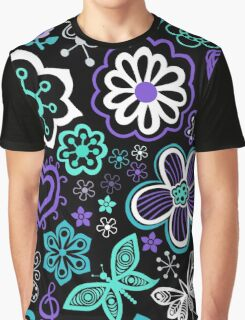 Hearts, Flowers and Butterflies Graphic T-Shirt