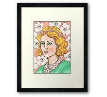 """Priscilla"" Retro Portrait Illustration Framed Print"