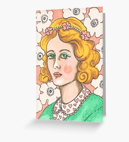 """Priscilla"" Retro Portrait Illustration Greeting Card"