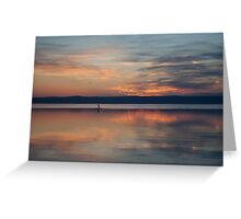 Surfer Rowing To Shore Greeting Card