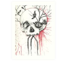 Pomegranate Skull  Art Print