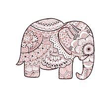 Pink Mandala Elephant Photographic Print